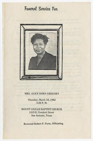Primary view of object titled '[Funeral Program for Alice Dorn Gregory, March 18, 1982]'.