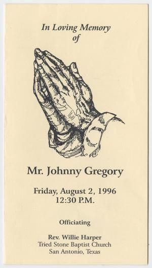 Primary view of object titled '[Funeral Program for Johnny Gregory, August 2, 1996]'.