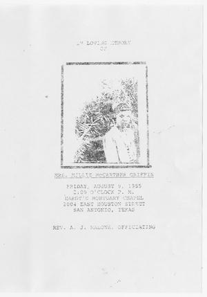 [Funeral Program for Millie McCarther Griffin, August 9, 1985]