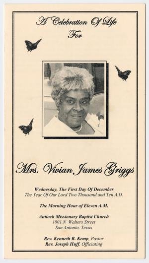 Primary view of object titled '[Funeral Program for Vivian James Griggs, December 1, 2010]'.