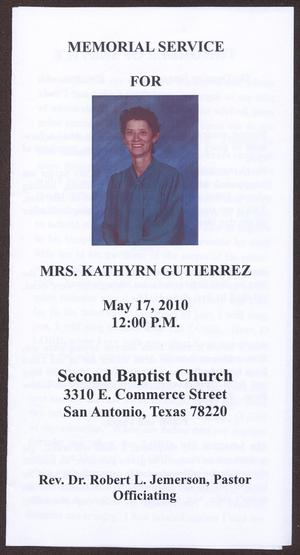 Primary view of object titled '[Funeral Program for Kathyrn Gutierrez, May 17, 2010]'.