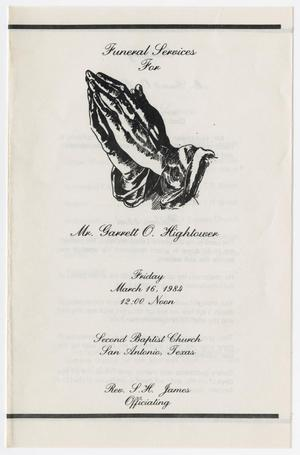 Primary view of object titled '[Funeral Program for Garrett O. Hightower, March 16, 1984]'.
