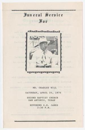 [Funeral Program for Charles Hill, April 24, 1976]