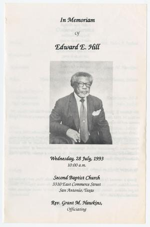 Primary view of object titled '[Funeral Program for Edward E. Hill, July 28, 1993]'.