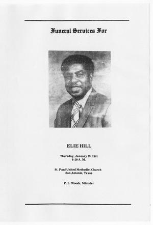 Primary view of object titled '[Funeral Program for Elie Hill, January 29, 1981]'.