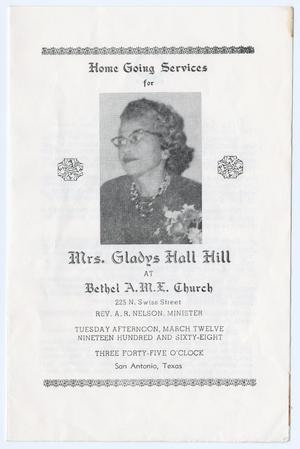 Primary view of object titled '[Funeral Program for Gladys Hall Hill, March 12, 1968]'.