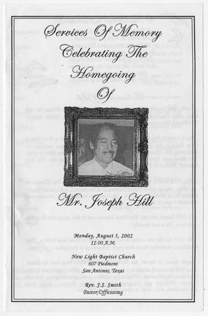 Primary view of object titled '[Funeral Program for Joseph Hill, August 5, 2002]'.