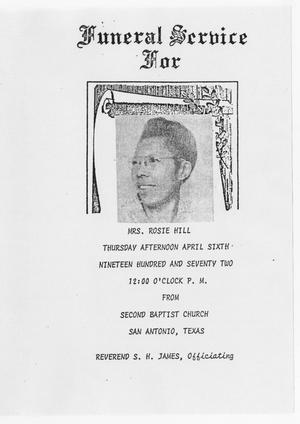 Primary view of object titled '[Funeral Program for Rosie Hill, April 6, 1972]'.