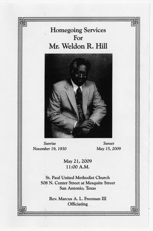 Primary view of object titled '[Funeral Program for Weldon R. Hill, May 21, 2009]'.