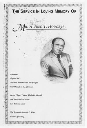 Primary view of object titled '[Funeral Program for Alfred T. Hodge, Jr., August 3, 1998]'.