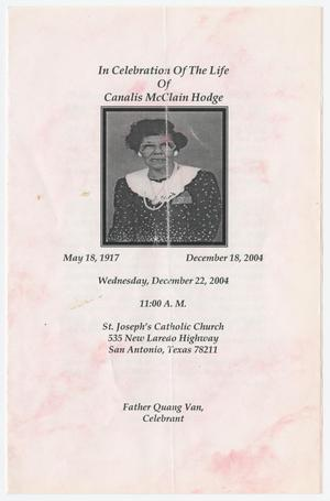 Primary view of object titled '[Funeral Program for Canalis McClain Hodge, December 22, 2004]'.