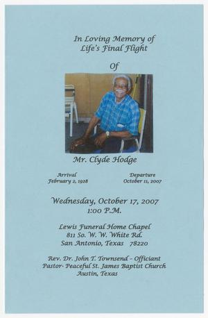 Primary view of object titled '[Funeral Program for Clyde Hodge, October 17, 2007]'.