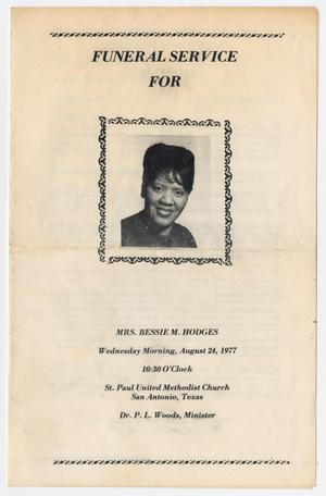 Primary view of object titled '[Funeral Program for Bessie M. Hodges, August 24, 1977]'.