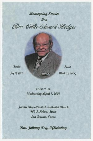 Primary view of object titled '[Funeral Program for Collie Edward Hodges, April 1, 2009]'.