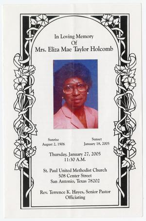 Primary view of object titled '[Funeral Program for Eliza Mae Taylor Holcomb, January 27, 2005]'.