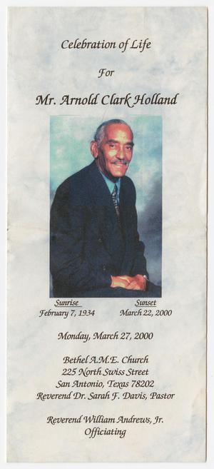 [Funeral Program for Arnold Clark Holland, March 27, 2000]
