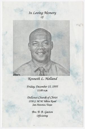 Primary view of object titled '[Funeral Program for Kenneth L. Holland, December 15, 1995]'.