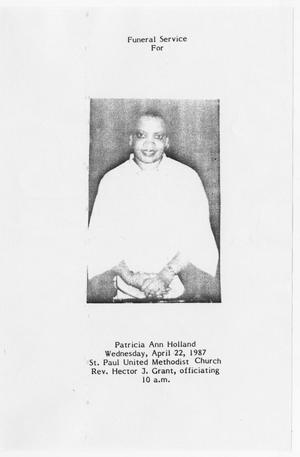 Primary view of [Funeral Program for Patricia Ann Holland, April 22, 1987]