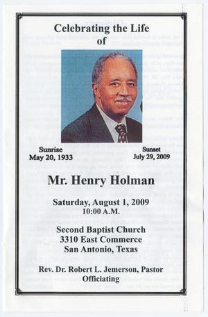 Primary view of object titled '[Funeral Program for Henry Holman, August 1, 2009]'.
