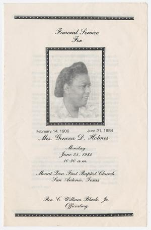 [Funeral Program for Geneva D. Holmes, June 25, 1984]