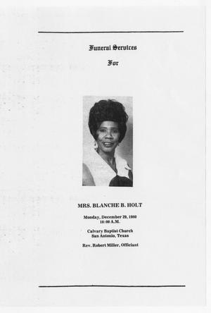 [Funeral Program for Blanche B. Holt, December 29, 1980]