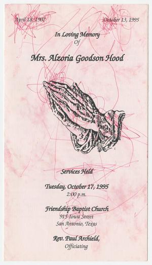 Primary view of object titled '[Funeral Program for Alzoria Goodson Hood, October 17, 1995]'.