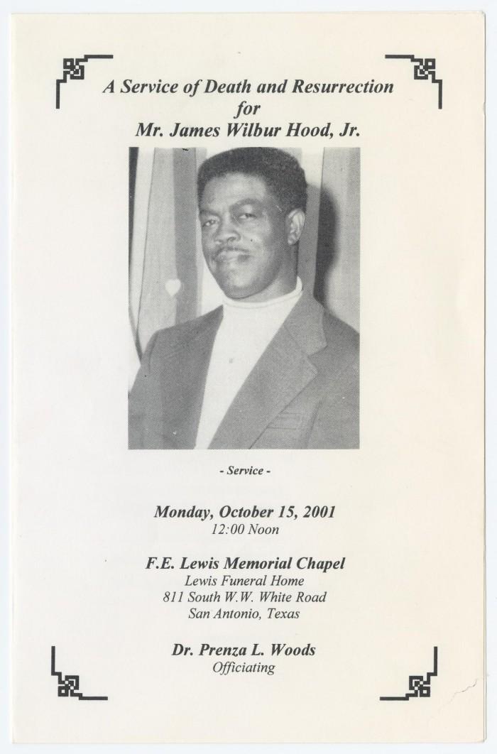 Funeral Program for James Wilbur Hood, Jr., October 15, 2001 ...