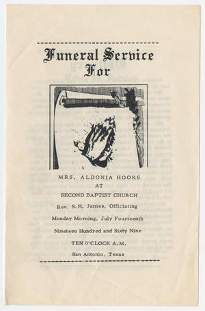 Primary view of object titled '[Funeral Program for Aldonia Hooks, July 14, 1969]'.