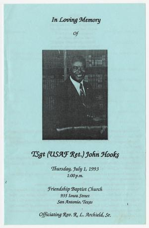 Primary view of object titled '[Funeral Program for John Hooks, July 1, 1993]'.