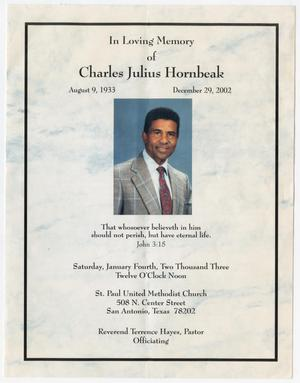 Primary view of object titled '[Funeral Program for Charles Julius Hornbeak, January 4, 2003]'.
