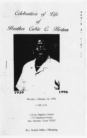 Primary view of object titled '[Funeral Program for Cubie C. Horton, February 26, 1996]'.