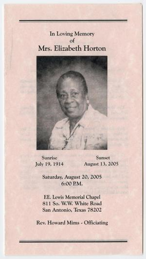 Primary view of object titled '[Funeral Program for Elizabeth Horton, August 20, 2005]'.