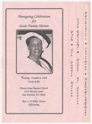 Primary view of object titled '[Funeral Program for Fannie Horton, October 6, 1998]'.