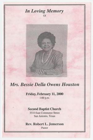 Primary view of object titled '[Funeral Program for Bessie Della Owens Houston, February 11, 2000]'.