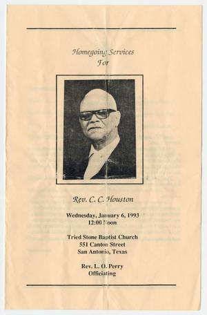 Primary view of object titled '[Funeral Program for C. C. Houston, January 6, 1993]'.