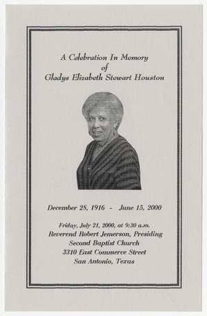 Primary view of object titled '[Funeral Program for Gladys Elizabeth Stewart Houston, July 21, 2000]'.