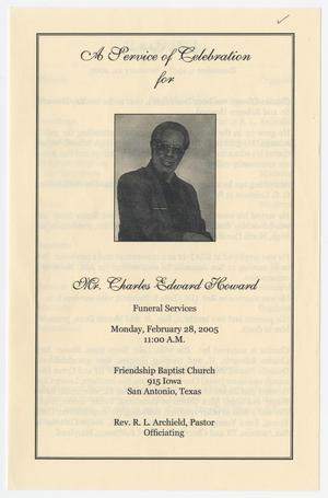 Primary view of object titled '[Funeral Program for Charles Edward Howard, February 28, 2005]'.