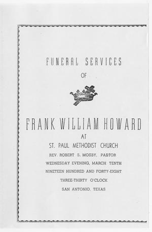 Primary view of object titled '[Funeral Program for Frank William Howard, March 10, 1948]'.