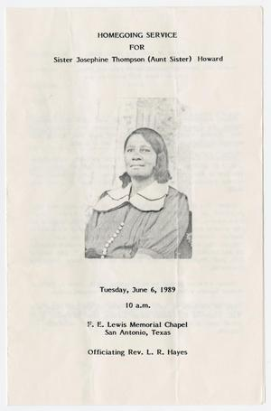 Primary view of object titled '[Funeral Program for Josephine Thompson Howard, June 6, 1989]'.