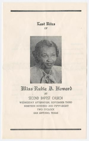 Primary view of object titled '[Funeral Program for Rubie B. Howard, September 3, 1958]'.