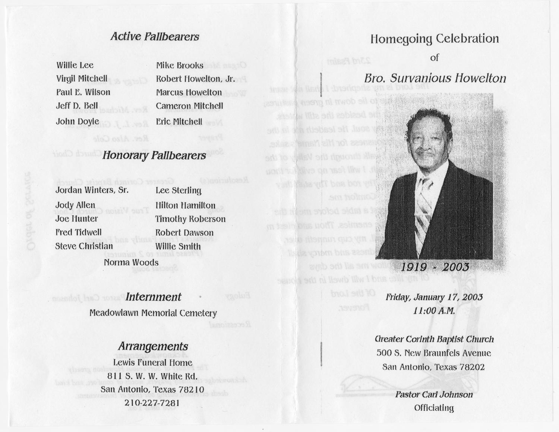 Funeral Program For Survanious Howelton January 17 2003
