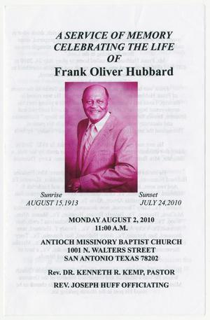 Primary view of object titled '[Funeral Program for Frank Oliver Hubbard, August 2, 2010]'.