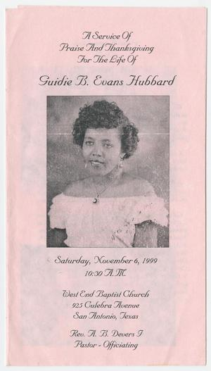 Primary view of object titled '[Funeral Program for Guidie B. Evans Hubbard, November 6, 1999]'.