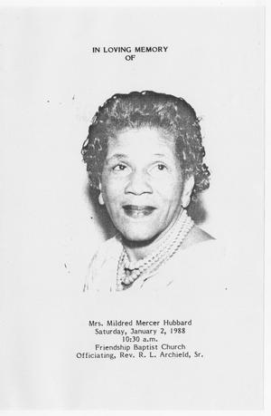 Primary view of object titled '[Funeral Program for Mildred Mercer Hubbard, January 2, 1988]'.
