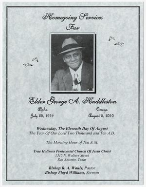 Primary view of object titled '[Funeral Program for George A. Huddleston, August 11, 2010]'.