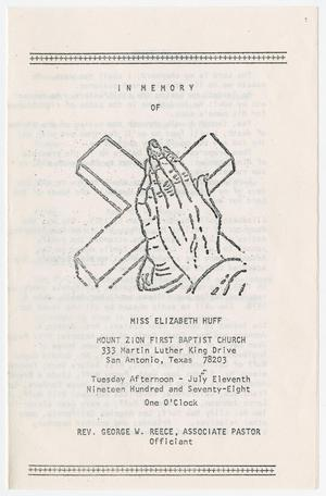 Primary view of object titled '[Funeral Program for Elizabeth Huff, July 11, 1978]'.