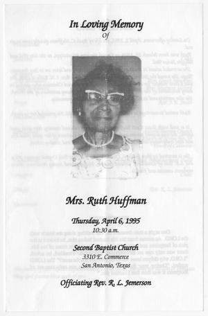 Primary view of object titled '[Funeral Program for Ruth Huffman, April 6, 1995]'.