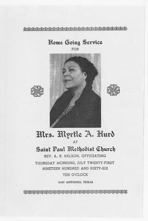 Primary view of object titled '[Funeral Program for Myrtle A. Hurd, July 21, 1966]'.