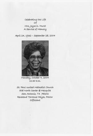 Primary view of object titled '[Funeral Program for Joyce K. Hurst, October 4, 2004]'.