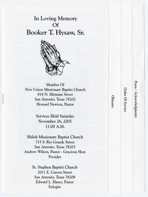 Primary view of object titled '[Funeral Program for Booker T. Hysaw, Sr., November 26, 2005]'.